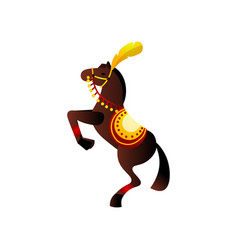brown awesome circus horse with red ribbon and vector image