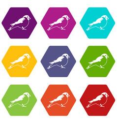 bullfinch icon set color hexahedron vector image