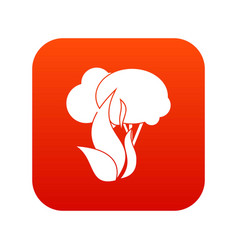 burning forest trees icon digital red vector image