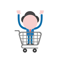 businessman character inside shopping cart vector image