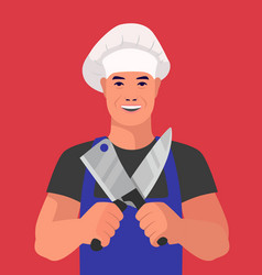butcher stands with knives on a red background vector image