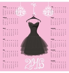 Calendar 2016 yearBlack dress Silhouette vector
