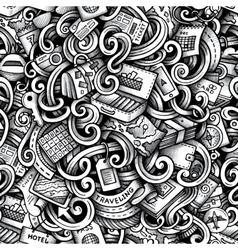 Cartoon doodles Travel season trace seamless vector