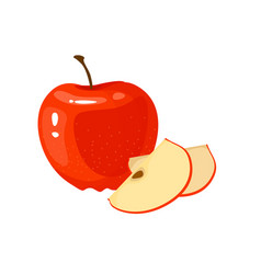 cartoon fresh apple isolated on white background vector image
