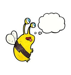 cartoon funny bee with thought bubble vector image
