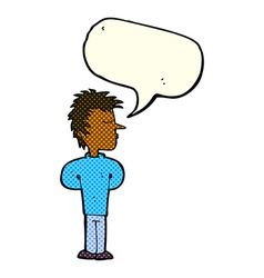 Cartoon man ignoring with speech bubble vector