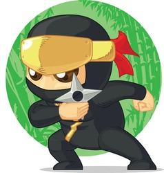 Cartoon ninja holding shuriken vector