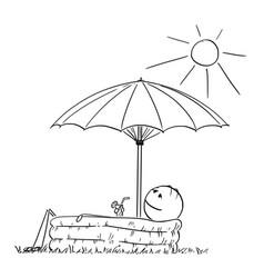 cartoon of man enjoying in inflatable pool under vector image