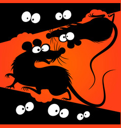 cartoon rats silhouettes vector image