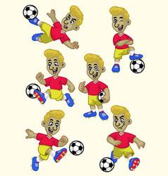 cartoon soccer player set vector image