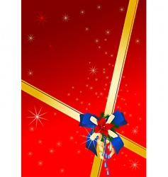 Christmas card with blue bow vector