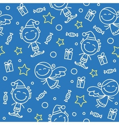 christmas hand drawn pattern vector image