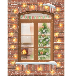 Christmas interiot through window vector