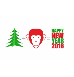 Christmas tree and monkey mathematical formula vector