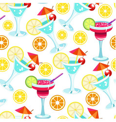 cocktails with straws and citrus slice seamless vector image