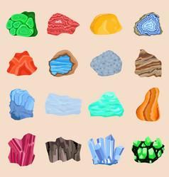 Collection set of semi precious gemstones stones vector