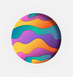 colorful papercut circle isolated abstract design vector image