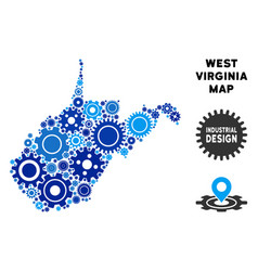 Composition west virginia state map of gears vector