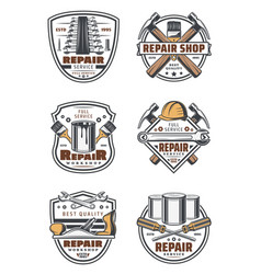 construction and repair work tools vintage icons vector image