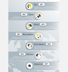 Continents infographic vector