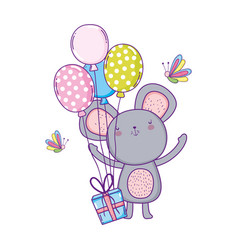 cute and little mouse with balloons helium vector image