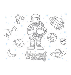 cute astronaut and astronomy doodle for kids vector image