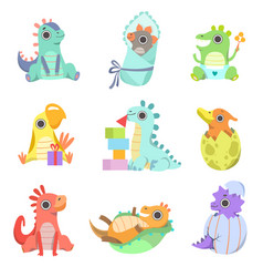 cute colorful little dinos set adorable baby vector image