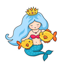 Cute princess mermaid with crown and two golden vector