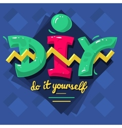 DIY Acronym Do It Yourself 90 s Vibrant Colors vector image