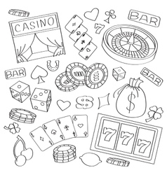 Doodle casino vector image