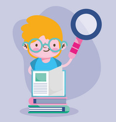 education online student boy with magnifier and vector image