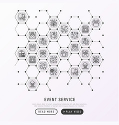 Event services concept in honeycombs vector