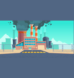 factory building with black smoke from chimneys vector image