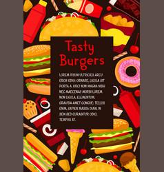 Fast food restaurant burgers menu poster vector