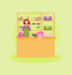 Female florist workplace vector