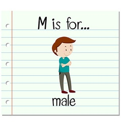 Flashcard letter M is for male vector