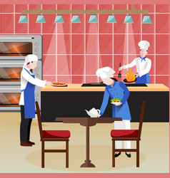 flat cooking people composition vector image