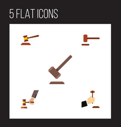 Flat icon court set of tribunal hammer crime and vector