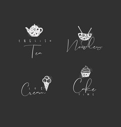 Food sign cake ice cream tea noodles chalk vector