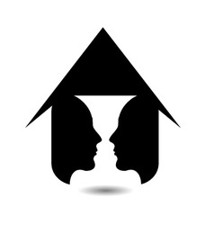 Form of vase created from 2 faces inside a house vector image