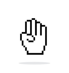 Four fingers Pixel hand cursor icon on white vector image