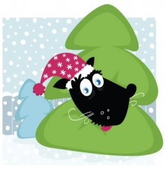 funny dog inside Christmas tree vector image