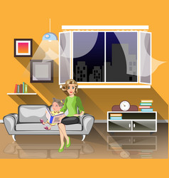 girl read book with mom in living room vector image