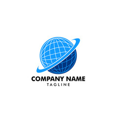 global logo icon with swoosh graphic element vector image