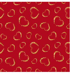 gold heart seamless pattern red color golden vector image