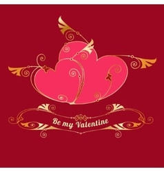 Gold hearts Valentines day love message vector image