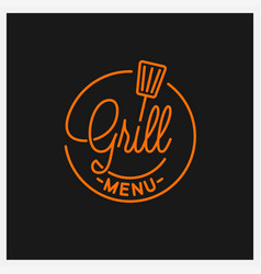 grill menu logo round linear logo grill tool vector image