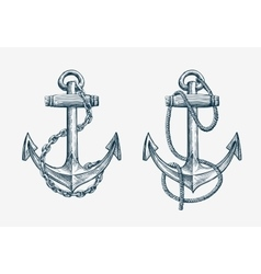 Hand drawn nautical anchor Vintage sketch vector