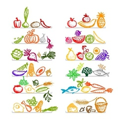 Healthy food on shelves sketch for your design vector