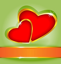 Heart over green card vector image
